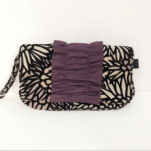 1154 Lill custom fabric & suede clutch wristlet